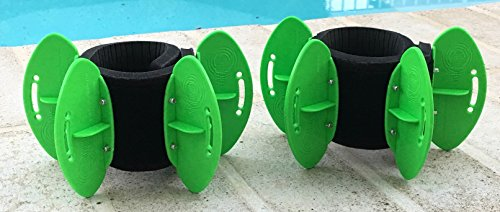 AquaLogix Green High Speed Aquatic Fins - Omni-Directional Water Resistance Exercise for Lower and Upper Body Pool Fitness Programs - Includes Online Demonstration Video (Fins Pair LRGBLS) by AquaLogix