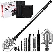 2021 WINHI New Folding Shovel Adjustable Multi-Function Survival Shovel,Portable Military Camping Shovel with