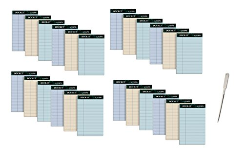 TOPS Docket 100% Recycled Writing Tablet, 5 x 8 Inches, Perforated, Assorted Colors, 50 Sheets per Pad, 6 Pads per Pack, 4 Packs, 24 Pads Total (99601) - Bundle Includes Universal Letter Opener by Tops
