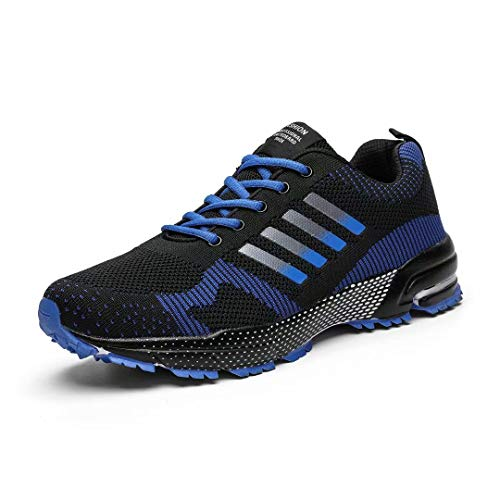 Huacud Men's Running Shoes Athletic Trail Sneakers Volleyball Sports Shoe Light Fitness Training Non Slip Shoe for Male Walking Blue42