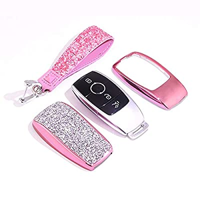 Royalfox(TM Luxury 3 4 Buttons 3D Bling Smart keyless Entry Remote Key Fob case Cover for Mercedes-Benz E-Class S-Class W213 2016 2020 2020 2020,with Keychain (Pink): Electronics