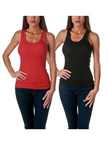 Sofra Women's Tank Top Cotton Ribbed 2 Pack Deal(Black/Red-M)
