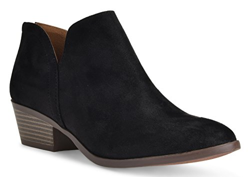 Black Ankle Booties (Women's Madeline Western Almond Round Toe Toe Slip on Bootie - Low Stack Heel - Zip Up - Casual Ankle Boot by LUSTHAVE Black SU 8.5)