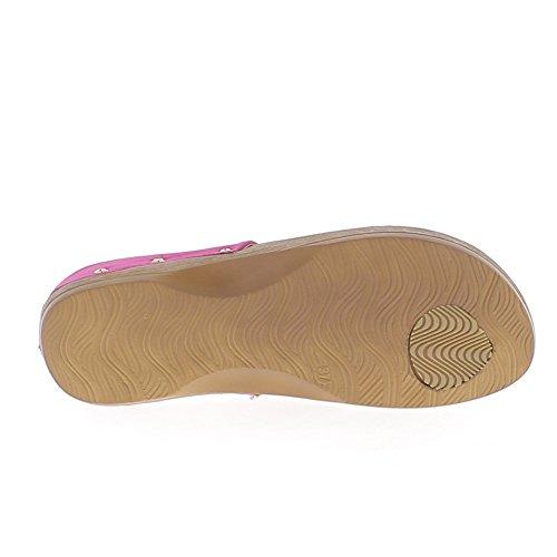 Strass e pelle scamosciata rosso aspetto piatto sandali