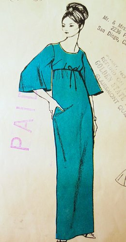 Polynesian Pattern 174 Opiopio, Muu Muu Floor Length Dress Vintage Sewing Pattern Wedding