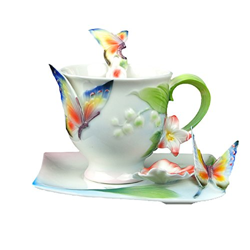 Choholete Porcelain Ceramic Tea Coffee Cup Set Elegant New Flying Butterfly 1 Cup 1 Saucer 1 Spoon