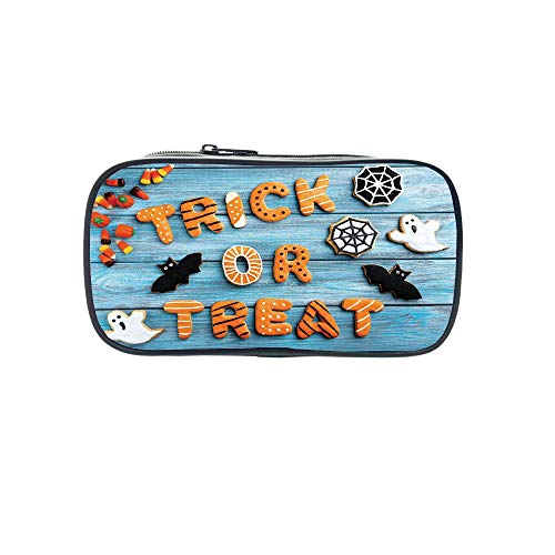 Strong Durability Pen Bag,Vintage Halloween,Trick or Treat Cookie Wooden Table Ghost Bat Web Halloween,Blue Amber Multicolor,for Students,Diversified Design