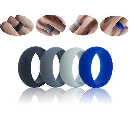 IBeaty Mens & Womens Soft Comfortable Silicone Wedding Ring - 4 Rings Pack with a Mini Wish Card,Wedding Bands For Firefighters, Military, Police, Fitness, Exercise, Weight Lifting