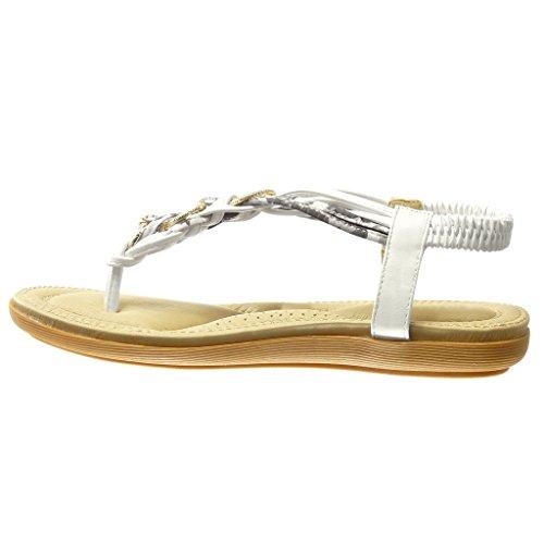Angkorly - Zapatillas de Moda Sandalias Chanclas correa mujer tanga trenzado strass Talón tacón plano 2 CM - Blanco
