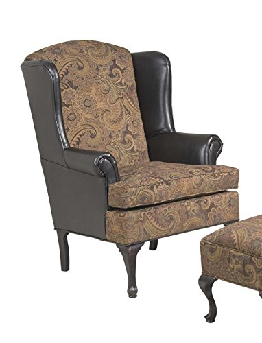 Serta Upholstery 2200WBC 2200WBC17 Traditional Style Wing Back Chair in Sanmar, Chocolate/raisin