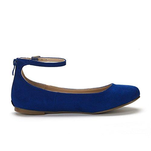 Droompaar Dames Enkel-mooie Enkelbandje Walking Flats Schoenen Koningsblauw