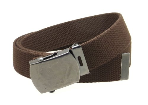 Mens Silver Belt Buckles (Canvas Web Belt Military Style Antique Silver Buckle/Tip Solid Color 50
