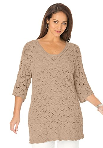 Jessica-London-Womens-Plus-Size-Pointelle-Sweater
