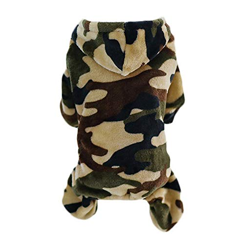 shine-hearty Winter Warm Camouflage Puppy Coat Jacket Hoodie for Small Dogs Pet Clothes Yorkie Chihuahua Apparel,Green,XXL