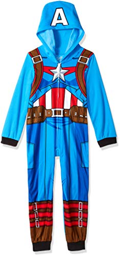 Marvel Boys' Little Captain America Uniform Hooded Blanket Sleeper, Americana, 6