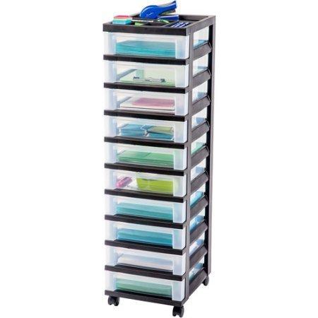 IRIS 10-Drawer Rolling Storage Cart, Black