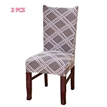 PASSIONS 2PCS/4PCS tretch Dining Chair Covers Removable Washable Seat Covers for Hotel Dining Room Wedding Banquet Decor … (2, 1)