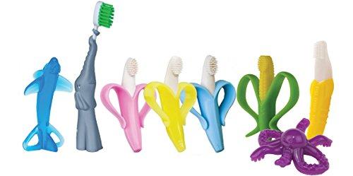 Bebé Banana Infantil Entrenamiento Cepillo de dientes y mordedor, Amarillo