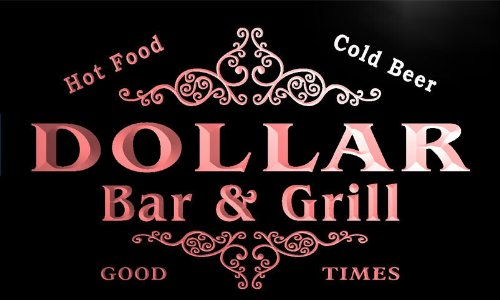 u11860-r DOLLAR Family Name Gift Bar & Grill Home Beer Neon Light Sign