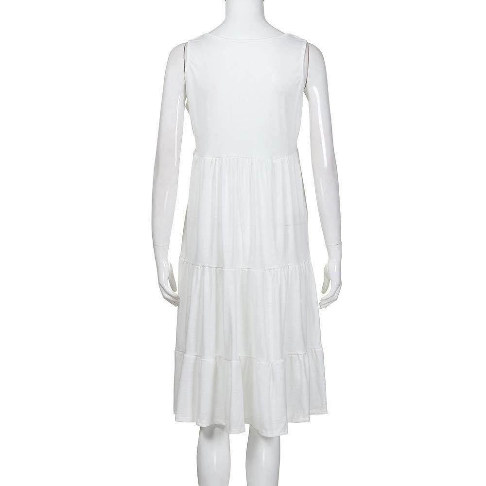 Wtouhe 2019 Sommer Damen Kleid Kurzarm Lose T-Shirtkleid Casual Tops Gro/ße Womens Holiday Summer /ärmelloses Party-Strandkleid Festes