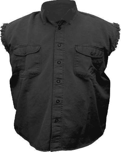 - Mens Black Cotton Twill Sleeveless Shirt AL-2901-2XL