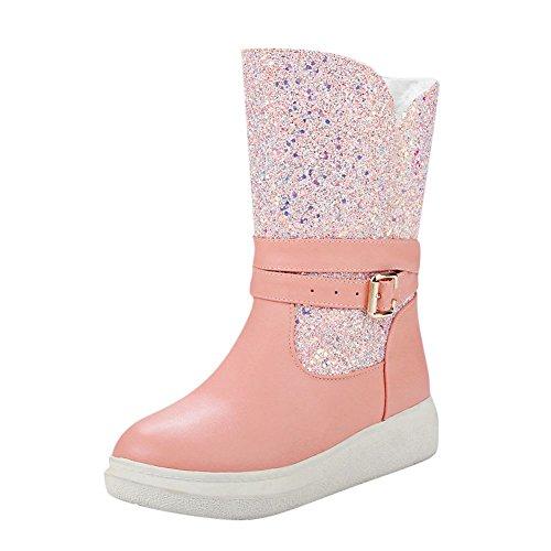 Show Shine Womens Platform Shiny Paillettes Buckle Snow Boots Rosa