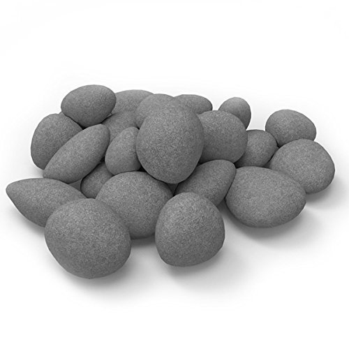 Hmleaf 24 PCS Fireplace Ceramic Pebbles for Firepits or Fireplaces or Stoves in Gray by hmleaf