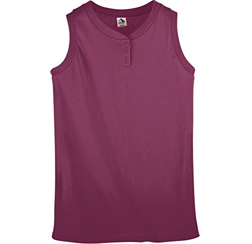 Sleeveless 2 Button Softball Jersey - Augusta Sportswear Ladies Sleeveless Two Button Softball Jersey L Maroon