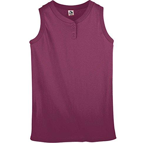 Augusta Sportswear Women's Sleeveless Two-Button Softball Jersey 2XL Maroon (Sportswear Ladies Sleeveless)