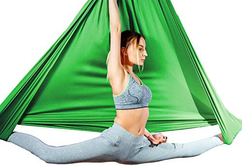 Antigravity Yoga Trapeze for Ceiling Height Upto 10ft Sensory Swing Inversion Pilates for Aerial Yoga Hammock Aum Active Aerial Silks Fabric 4.5x3 Yards