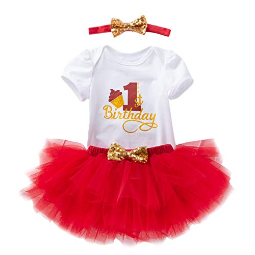 Baby Toddler Girls 1st Birthday Tutu Dress Cotton Outfit Short Sleeve Floral Romper Bodysuit+Tulle Skirt+Headband 3Pcs Clothes Set Red Cake Birthday One -