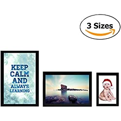 Magnetic Photo Picture Frames and Refrigerator Magnets, Frame for Refrigerator, Black, Holds 4x6 3.5x5 2.5x3.5 Inches Photos, 3 Pcs (Black)