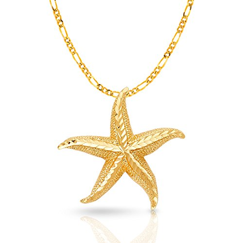 14K Yellow Gold Starfish Charm Pendant with 3.1mm Figaro 3+1 Chain Necklace - 20