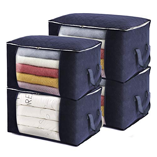 Clothes Storage Organizer, Large Storage Container with Thickened Handles for Bedding, Clothes and Blankets, Strong Zippers, Transparent Windows, 4 Pieces (Blue)