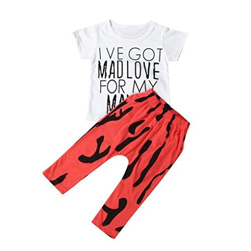 Baby Boy Kids Summer T-Shirt Blouse Tops + Pants 2pcs Outfits - 3