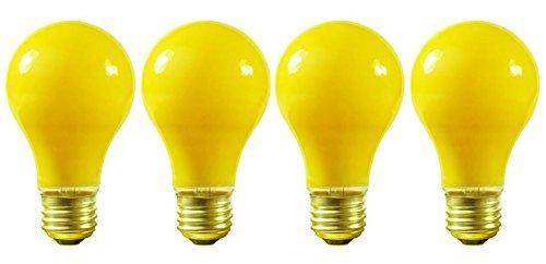((Pack Of 4) 100 Watt A19 Yellow Bug Light 130V E26 Base- 100A/YB - 100A19/Y)