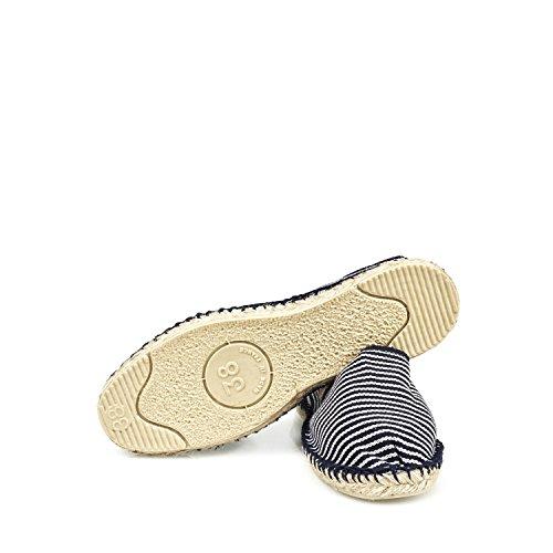 Espadrij LORIGINALE Womens Classic Cotton Espadrilles ECRU/Marine-Fine Size EU 42 - US 10 3UCpT
