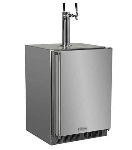 Marvel MO24BTS2RS Outdoor Built-In Beer Dispenser, Twin Tap, Solid Door, Right Hinge, 24