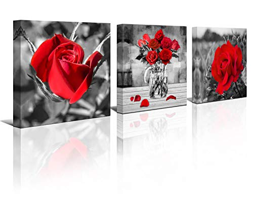 - Black White Red Rose Flowers Wall Art Bedroom Simple Life 12