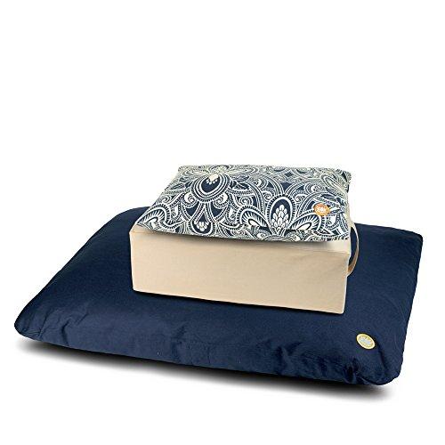 Pure Life Meditation - 3 Piece Limited Edition Set with Support Cushion, Tibetan Gomden & Zabuton (Navy Flower, Cream & Navy)