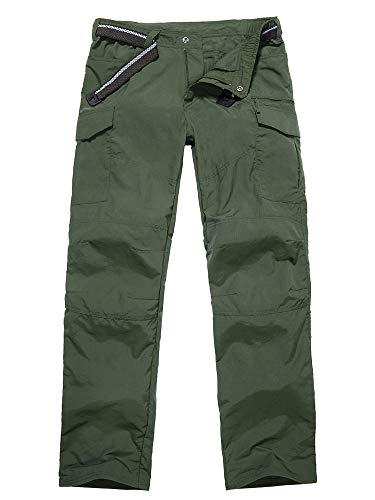 Asfixiado Mens Waterproof Hiking Pants,Adventure Quick Dry Convertible Lightweight Zip Off Fishing Travel Mountain with Belt #6046-Army Green-29 (29 Green)