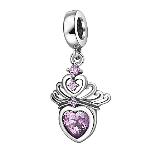 Sterling Silver Princess Bracelets (Hearts Tiara Dangle Charm Pendant with Cz 925 Sterling Silver Princess Crown Beads Anniversary Gifts for Charms Bracelet (pink))