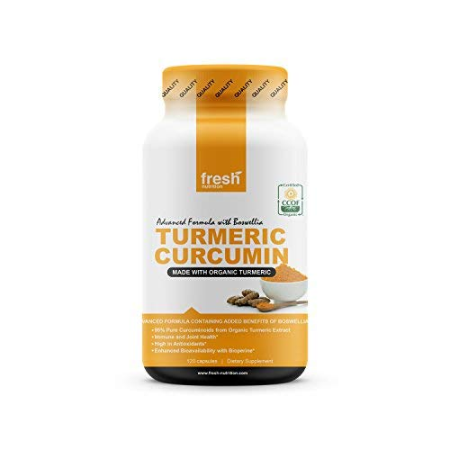 Organic Turmeric Curcumin with Added Boswellia & Bioperine for Potent Joint & Inflammation Support - Best Natural Joint Pain Relief - 4 Month Supply - Organic - Non GMO - Vegan NO Gluten