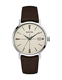 Bulova Men's 96B242 20mm Leather Calfskin Black Watch Bracelet