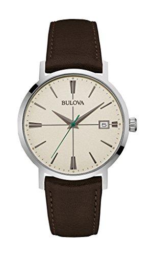 Bulova Men's 96B242 20mm Leather Calfskin Black Watch (Bulova Mens Strap Watch)