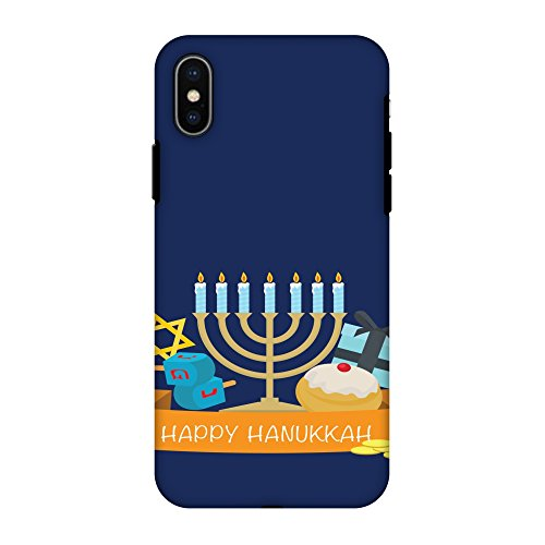 AMZER Dual Layer Handcrafted Designer Hybrid Slim Fit Hard Soft Shockproof Case for iPhone X (2017), iPhone Xs (2018) - Hanukkah 2