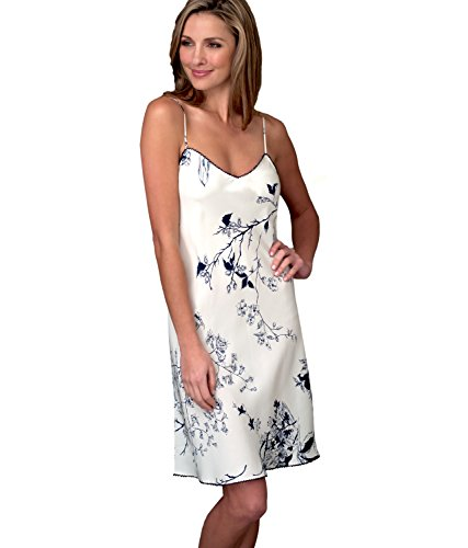 - Julianna Rae Women's Midnight Beauty 100% Silk Chemise, Midnight Floral, XXL