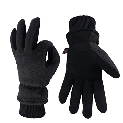 OZERO Leather Gloves,Thermal Gloves for Warm Winter,Mens and Womens,1 Pair