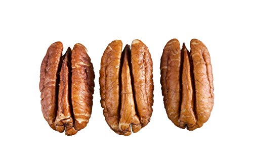 (Fresh 2018-2019 crop of raw Pecan halves in 5 lbs Bulk and Vacuum bag. 100% Natural nuts, they compare to organic, Non - GMO, No Preservatives, No PPO, Unpasteurized)