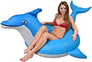 GoFloats Dolphin Pool Float Party Tube - Inflatable Rafts for Adults &